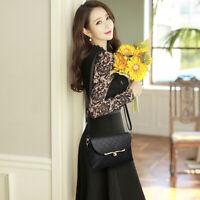 useful Elegant Fashion Lattice Messenger Bag Mini Simple Black Sling Bag Han _