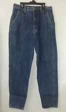 Bill Blass sZ 14 High Waist Pleated Tapered Leg Blue Denim Stone Wash Mom Jeans