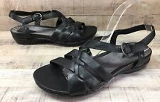 Clarks Artisan Black Strappy Leather Slingback Sandals Women's sz 9.5
