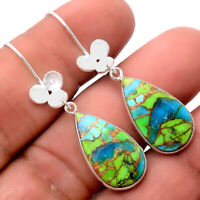 Blue Turquoise In Green Mohave 925 Sterling Silver Earrings Jewelry 4856