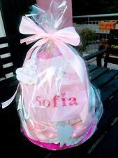 Torta di pannolini due piani azzurra o rosa con nome personalizzato ricamato !!!