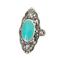 925 Sterling Silver Filigree Turquoise Marcasite Ring Size 6-10