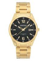 Armitron 20/5393BKGPWM Men's Gold-Tone and Black Calendar Dress Watch