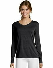 Hanes Women's Long-Sleeve V-Neck T-Shirt Performance Sport Cool DRI sizes S-2XL