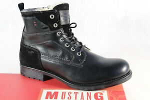 Mustang Boots Lace up Boots Winter Boots Black Real Leather New