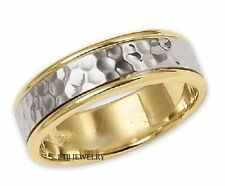 10K TWO TONE GOLD MENS WEDDING BANDS,HAMMERED FINISH 6MM WEDDING RINGS