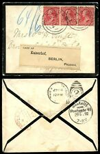 USA 1892 MOURNING ENVELOPE to LONDON REDIRECTED RECANCELLED to PRUSSIA GERMANY