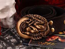 COOL Fine Bronze Alien larvae Men Belt Buckles Cowhide Leather Handmade 066