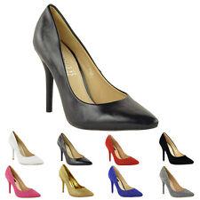 Womens Ladies Low Mid High Kitten Heel PUMPS Pointed Toe Work Court Shoes Size UK 6 / EU 39 / US 8 Black PU