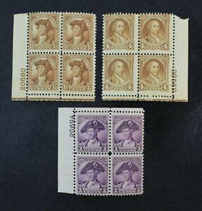 CKStamps: US Stamps Collection Scott#706 708 709 Block Mint H OG