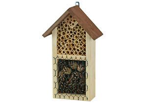 Kleines Insektenhotel aus Holz zum Aufhängen (mit Schilf & Zapfen)