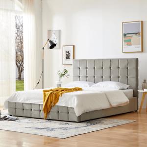 Polsterbett mit Bettkasten 160x200 cm grau Velours Metallgestell ohne Matratzen1