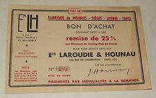 Ancien BON D'ACHAT 1937 1938 Ets LAROUDIE & HOUNAU Fabrique de MEUBLES SIEGES