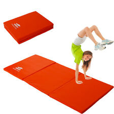 "New Folding Panel Gymnastics Mat Gym Exercise Yoga Tri Mat Pad 55"" x 24"" orange"