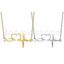 Stainless Steel EKG Heart Beat Heartbeat Pendant Necklace Chain For Women's Gift