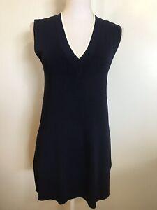 RALPH LAUREN Navy Blue Long VEST Womens Medium Tunic Sleeveless Sweater Knit Top