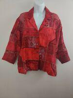 Women's Vintage Chicos Design Red Silk Patch Work Blazer Size 2