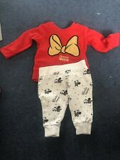 Baby Girl Clothes 0-3 Months Disney Outfit Red Minnie Mouse Top & Grey Joggers