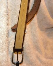 COLUMBIA SIZE 38 BROWN AND TAN GENUINE LEATHER BELT 1 & 1/4 INCHES WIDE
