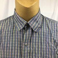 Orvis Mens Blue Multi Color Striped Button Down Shirt Size XL 100% Cotton