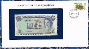 Banknotes of All Nations Bermuda 1 Dollar 1982 UNC P-28b.3 prefix A/6