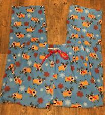 Christmas Pajama Pants Reindeer Loungewear GOODNIGHT KISS M Plush Fleece So Soft