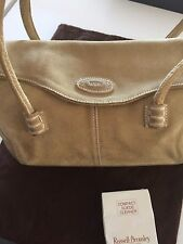 Versatile TODs Designer Handbag Beige Leather Russell + Bromley Suede