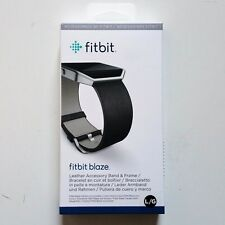 Fitbit Blaze Accessory Replacement Leather Wrist Band & Frame Large Black OEM