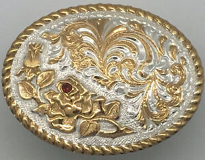 Vintage Crumrine Belt Buckle Floral Flower Design With Red Gems Western Cowboy