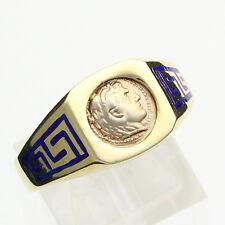 Men's Vintage 14K Yellow Gold Greek Coin Ring - Size 14