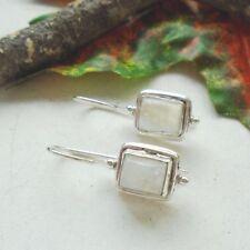 Mondstein eckig weiß modern Design Ohrringe Ohrhänger 925 Sterling Silber, neu