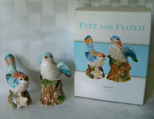 Fitz and Floyd ~ Toulouse Salt & Pepper Shakers Birds Butterfly Blue New w/ Box