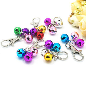 3X Metal Pet Dog Cat Puppy Charms Jingle Bells With Clips For Necklace Collay HF