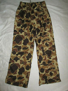 COLUMBIA CAMOUFLAGE MEN'S CAMO PANTS LARGE BROWN BEIGE USED NYLON HUNTING