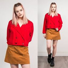WOMENS VINTAGE RED DOUBLE BREAST FASTEN CROPPED STYLE SHIRT BLOUSE WESTERN 20 22