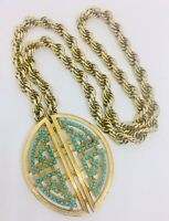 Large CINER Faux Turquoise Necklace Brooch Egyptian Revival Vintage Jewelry
