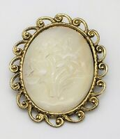 Vintage White Lucite Flower Pendant Brooch Pin Combination Oval Gold Tone Ornate