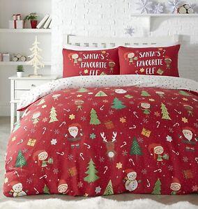 Elf & Santa Christmas Duvet Cover Reversible Bedding Set Single, Double & King