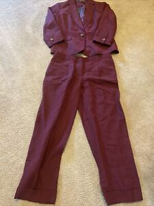 TALBOTS Blazer And Pants Career Suit Cranberry 2 NWT NEW