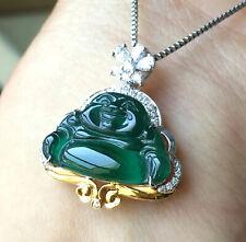 Jadeite Jade Icy Blue Buddha Pendant Grade A 18K Gold Setting Certified 蓝水佛18K金镶