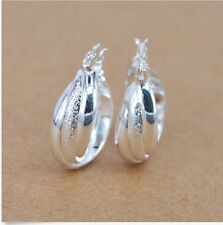 New Cute Fun Sterling Silver Plated 3 Row Twisted Band Round Hoop Earrings