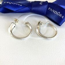 Authentic Pandora Silver 14k Gold Two Hearts Hoop Stud Removable Earrings 296576