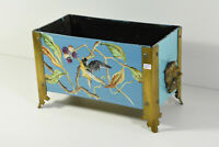 Antique French Metal Enamel Birds floral decor lion heads Planter jardiniere