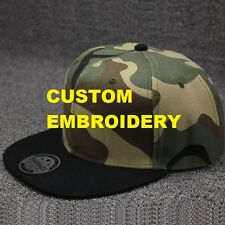 Create Your Custom Personalised Embroidery Camo FLAT Black Brim SNAPBACK Cap Hat