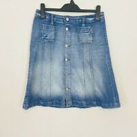 H&M Logg Denim Skirt 36 8 Blue Mid Wash Casual Button Front Aline Chambray Knee