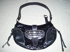 "Guess Small Solid Black Baguette Handbag Faux Leather Strap Drop is 9"" & 5""x10"""
