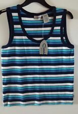 CATALINA BASICS KNIT TOP NAVY STRIPE SIZE LARGE NEW WITH TAGS.