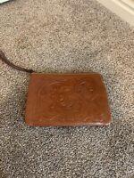PATRICIA NASH Cassini Tooled tan Italian Leather Wristlet Wallet Bag $79