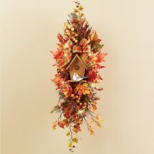 Fall Leaves and Berries with Birdhouse Lighted Thanksgiving Wall Door Swag
