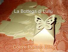 25 pz Scatola Bomboniere Farfalla Perlate  Porta Confetti riso Segnaposto